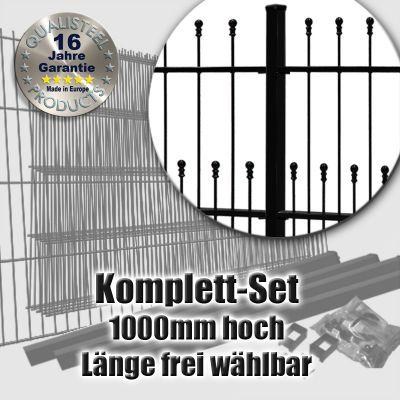 Schmuckzaun Komplett-Set DECORA fvz. + schwarz 1000mm