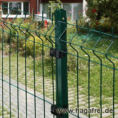 30m Mattenzaun-Set GENI 3D-Stabmatten T-Pfosten grün