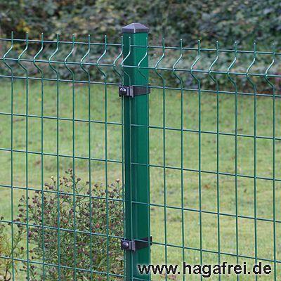 20m Mattenzaun-Set GENO 3D-Stabmatten Rechteckpfosten grün