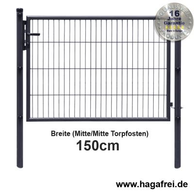 Gartentor EASY-B-EASY feuerverzinkt + anthr. 1,5m Breite