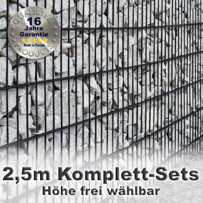 Gabionenzaun-Set 8-6-8 anthrazit 2,5m