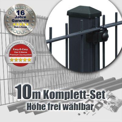 10m Doppelstabmattenzaun-Set EBE mit Rechteckpfosten