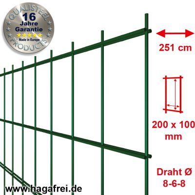 Industrie-Doppelstab-Zaunmatte 8-6-8 feuerverzinkt + pulverbeschichtet 100er Teilung