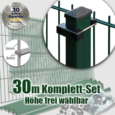 30m POWERWALL Doppelstabmatten-Set 8-6-8 fvz. + grün Rechteckpfosten U-Bügel