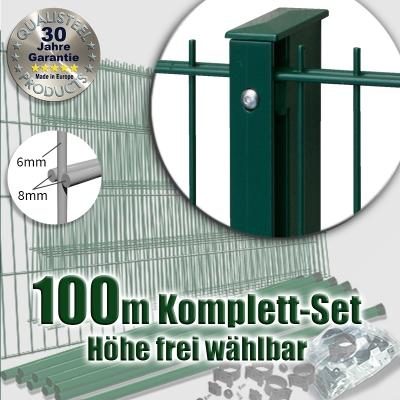 100m POWERWALL Doppelstabmatten-Set 8-6-8 fvz. + grün Rechteckpfosten Schiene
