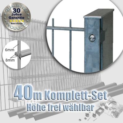40m POWERWALL Doppelstabmatten-Set 8-6-8 fvz. Rechteckpf. Schiene