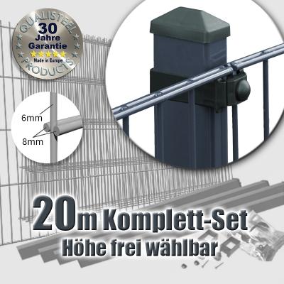 20m POWERWALL Doppelstabmatten-Set 8-6-8 fvz. + anthr. Rechteckpf. Universalschellen