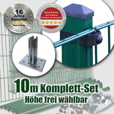 10m Doppelstabzaun-Set EBE Rechteckpfosten mit Standfuß