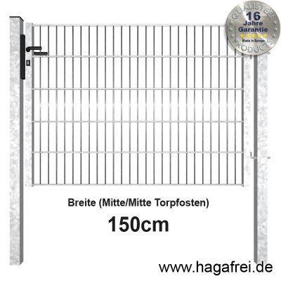 Industrie Doppelstabmatten-Tor feuerverzinkt 1,5m Breite offener Rahmen