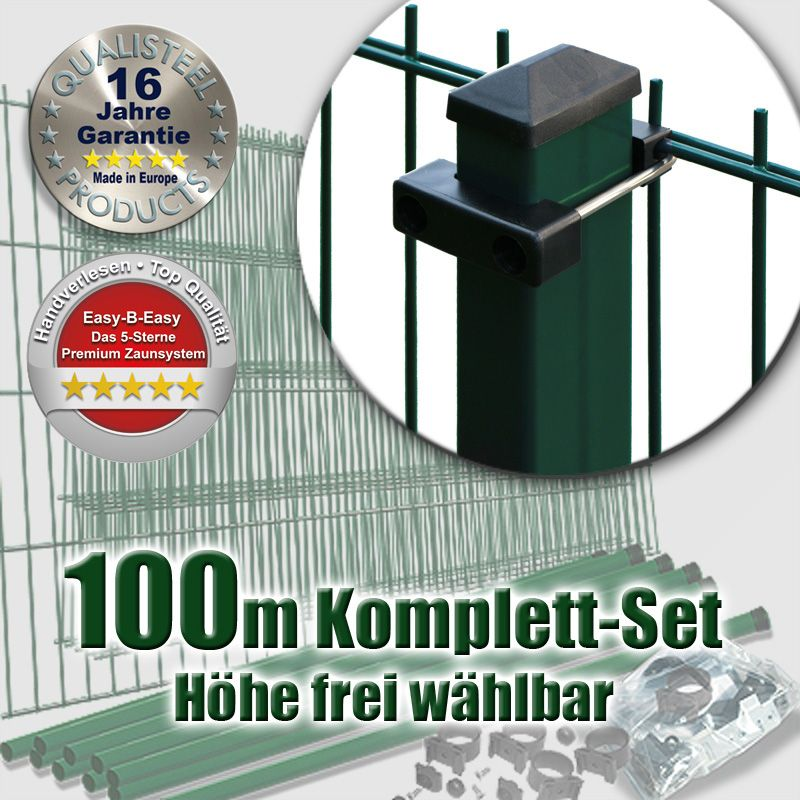 100m doppelstabmatten set rechteckpfosten u b gel. Black Bedroom Furniture Sets. Home Design Ideas
