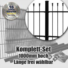 Schmuckzaun Komplett-Set OPTIMA fvz. + schwarz 1000mm