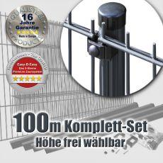 100m Doppelstabmattenzaun-Set EASY-B-EASY Rundpfosten