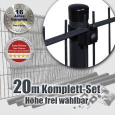 20m Doppelstabzaun-Set EBE Universal Rundpfosten Ø 42mm