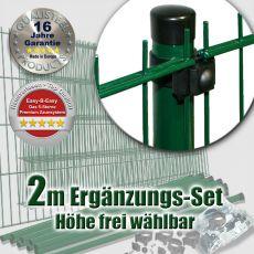 2m Doppelstabzaun-Ergänzungs-Set EBE Universal Rundpfosten Ø 42mm
