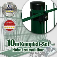10m Doppelstabzaun-Set EBE Universal Rundpfosten grün Ø 60mm