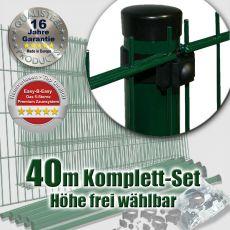 40m Doppelstabzaun-Set EBE Universal Rundpfosten grün Ø 60mm