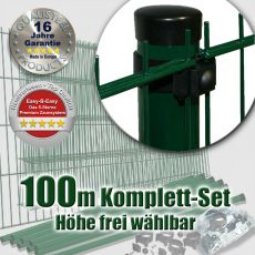 100m Doppelstabzaun-Set EBE Universal Rundpfosten grün Ø 60mm