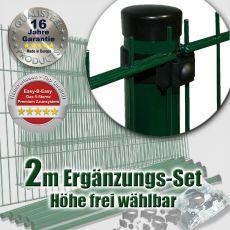 2m Doppelstabzaun-Ergänzungs-Set EBE Universal Rundpfosten grün Ø 60mm
