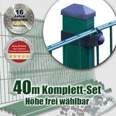 40m Doppelstabmattenzaun-Set EBE Universal Rechteckpfosten