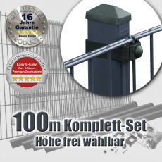 100m Doppelstabmattenzaun-Set EBE Universal Rechteckpfosten