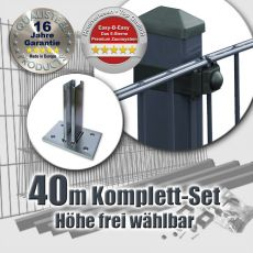 40m Doppelstabzaun-Set EBE Rechteckpfosten mit Standfuß