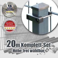 20m Doppelstabzaun-Set EBE Rechteckpfosten mit U-Bügeln