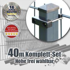 40m Doppelstabzaun-Set EBE Rechteckpfosten mit U-Bügeln
