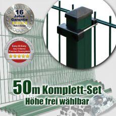 50m Doppelstabzaun-Set EBE Rechteckpfosten mit U-Bügeln