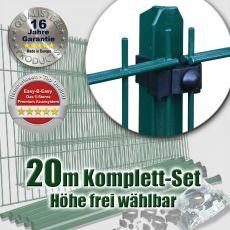 20m Doppelstabmattenzaun-Set EBE Universal grün mit T-Pfosten