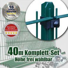 40m Doppelstabmattenzaun-Set EBE Universal grün mit T-Pfosten