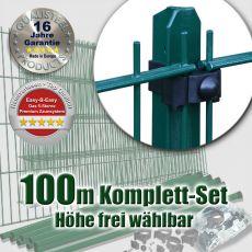100m Doppelstabmattenzaun-Set EBE Universal grün mit T-Pfosten