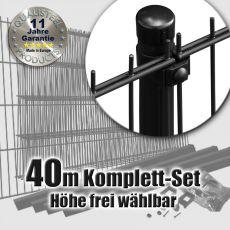 40m Doppelstabmattenzaun-Set SIMPEL Rundpfosten schwarz