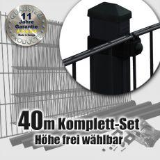40m Doppelstabmattenzaun-Set SIMPEL Rechteckpfosten schwarz