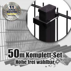 50m Doppelstabmattenzaun-Set schwarz Rechteckpfosten U-Bügel