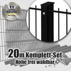 20m Doppelstabmattenzaun-Set SIMPEL Rechteckpfosten mit Schiene schwarz