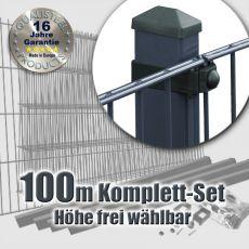 100m Industrie-Doppelstabmatten-Set 6-5-6 Rechteckpf. Universalschellen