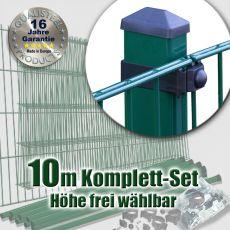10m Industrie-Doppelstabmatten-Set L 6-5-6 Rechteckpf. Universalschellen