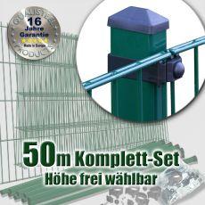 50m Industrie-Doppelstabmatten-Set L 6-5-6 Rechteckpf. Universalschellen