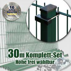 30m Industrie-Doppelstabmatten-Set 6-5-6 Rechteckpfosten U-Bügel
