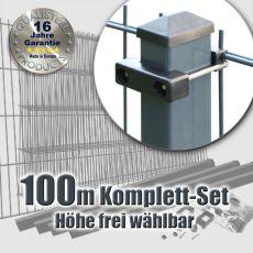 100m Industrie-Doppelstabmatten-Set 6-5-6 Rechteckpfosten U-Bügel