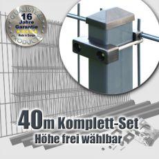 40m Industrie-Doppelstabmatten-Set L 8-6-8 Rechteckpfosten U-Bügel