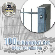 100m Industrie-Doppelstabmatten-Set 6-5-6 fvz. Rechteckpf. Schiene