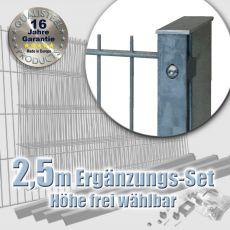2,5m Doppelstabmatten-Ergänzungs-Set 6-5-6 fvz. Rechteckpf. Schiene
