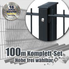 100m Industrie-Doppelstabmatten-Set 6-5-6 Rechteckpfosten Schiene