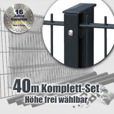 40m Industrie-Doppelstabmatten-Set L 6-5-6 Rechteckpfosten Schiene