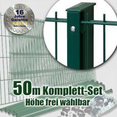 50m Industrie-Doppelstabmatten-Set L 6-5-6 Rechteckpfosten Schiene