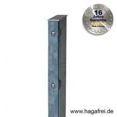 Rechteckpfosten Schiene für Industriezäune 60 x 40 mm feuerverzinkt