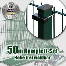 50m Industrie-Doppelstabmatten-Set L 6-5-6 Rechteckpfosten U-Bügel