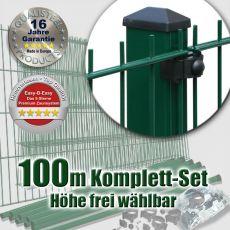 100m Doppelstabmattenzaun-Set EBE mit Rechteckpfosten