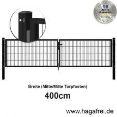Doppelstab-Doppeltor SIMPEL fvz. + schwarz Quadratrohr mit Schiene 4m Breite